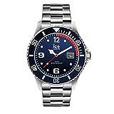 Ice-Watch - ICE steel Marine silver - Blaue Herrenuhr mit Metallarmband - 015775 (Large)