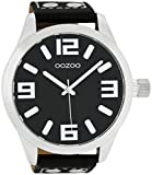 Oozoo XXL Armbanduhr Basic Line mit Lederband 52 MM Schwarz/Schwarz C1004