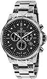 LOUIS XVI Herren-Armbanduhr Palais Royale Stahlband Silber Schwarz Karbon echte Diamanten Chronograph Analog Quarz Edelstahl 893