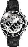 ICE-WATCH - ICE steel Black Silver Chrono - Schwarze Herrenuhr mit Silikonarmband - Chrono - 016302 (Large)