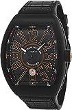 Franck Muller Vanguard Herren-Armbanduhr mit automatischem Datumsanzeige, schwarzes Titan-Zifferblatt, schwarzes Gummiarmband, V 45 SC DT TT NR BR.SN