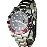 Tickwatch Bliger 40 mm GMT rote und schwarze Saphir-Kristall-Keramik-Lünette, schwarzes Zifferblatt, Saphir-Kristall-Automatikuhr.