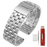 20mm Armbanduhr Silber Prämie Matt 5 Reihen Doppelschlösser Edelstahl Uhrenarmband Ersatz Metall Uhrenband für Damen Herren Band Armband