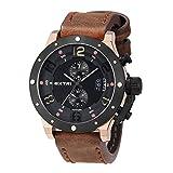 Extri Herren Chronograph Quarz Uhr mit Leder Armband X3005D