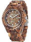 Alienwork Armbanduhr Herren Damen braun Holz-Armband Kalender Datum Natur-Holz