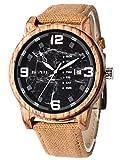 Alienwork Armbanduhr Herren gelb Canvas-Armband Kalender schwarz Holzuhr Natur-Holz