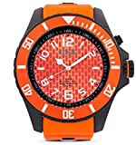 KYBOE! Black Buttercup Herren-Armbanduhr, Quarz, Edelstahl und Silikon, 55 mm
