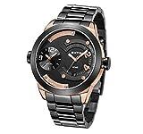 Extri Herren Analog Quarz Uhr mit Edelstahl beschichtet Armband X3015SF