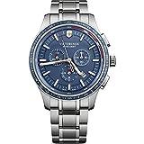 Victorinox Herren Alliance Sport - Swiss Made Chronograph Edelstahl Uhr Silber/Blau 241817