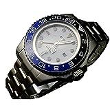 Bliger 47 mm GMT blaue und schwarze Keramik-Lünette, weißes Zifferblatt, automatische Herren-Armbanduhr.