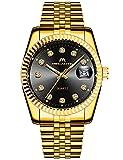 MEGALITH Herrenuhr Gold Edelstahl Wasserdicht Designer Armbanduhren Leuchtende Analog Datum Business Uhr Elegant Geschenk für Männer