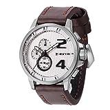 Extri Herren Chronograph Quarz Uhr mit Leder Armband X3004B