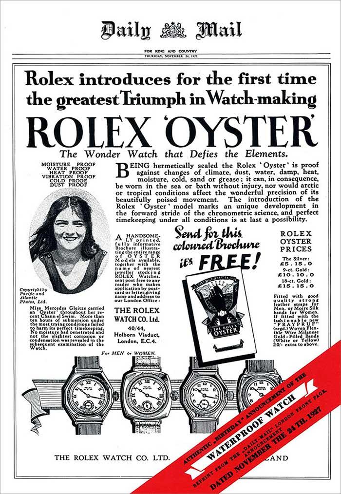 Rolex Oyster Werbeplakat in der Daily Mail