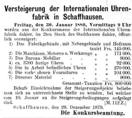 Vesteigerung der IWC Uhrenfabrik Schaffhausen im Jahr 1880