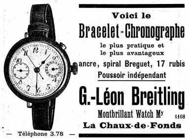 Breitling Werbung 1915 für den ersten Armbandchronographen