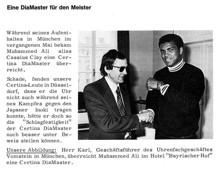 Muhammed Ali mit einer Certina DS DiaMaster 1976 in München