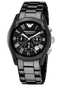 Schwarze Emporio Armani Herrenuhr und Chronograph mit Quarz-Uhrwerk und Keramik-Armband AR1400