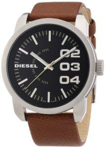 Klassische Armbanduhr Diesel DZ1513 mit Lederarmband und schwarzem Zifferblatt