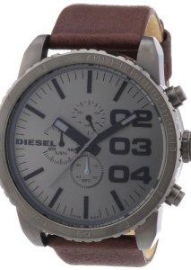 Diesel Armbanduhr DZ4210 mit braunem Lederarmband und grauem Zifferblatt