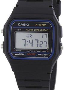 Casio Collection F-91W Herren-Quarzuhr in Schwarz mit digitaler Zeitanzeige, Datum, Wochentag, Alarm und Stoppfunktion
