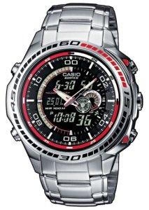 Casio Edifice EFA-121D-1AVEF Digital-Analoguhr für Herren mit Edelstahlgehäuse und Armband mit Weltzeit, Kalendar und Thermometer