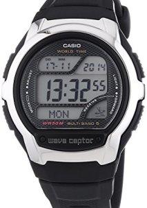 Casio WV-58E-1AVEF Herren-Funkuhr mit rundem Gehäuse und digitaler Zeitanzeige, Datum, Wochentag und Beleuchtung