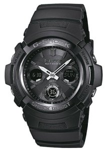 Schwarze Herrenuhr Casio G-Shock AWG-M100B-1AER mit Weltzeit, LED, Countdown, Stoppfunktion