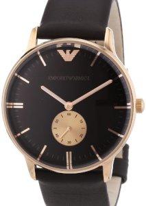 Elegante Emporio Armani Herren-Armbanduhr AR0383 mit roségoldfarbenen Gehäuse, Zeigern und Indizes