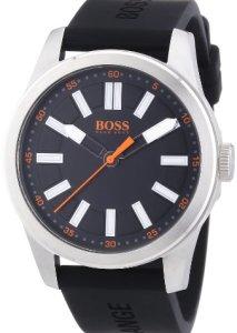 Boss Orange Big Up Herren-Uhr mit schwarzem Zifferblatt, breiten Zeigern und schwarzem Silikonarmband