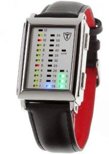 Neue Herren-Armbanduhr mit rechteckigem Gehäuse, zwei Drückern und farbigen LEDs