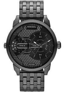 Modische Herren-Armbanduhr Diesel Mini Dady mit zwei Zeitanzeigen komplett in Grau-Schwarz