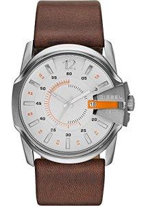 Diesel Herren-Armbanduhr Master Chief DZ1668 mit weißem Zifferblatt und orangen Elementen