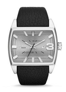 Elegante Uhr Diesel DZ1675 mit quadratischem Edelstahlgehäuse und schwarzem Lederband für Herren