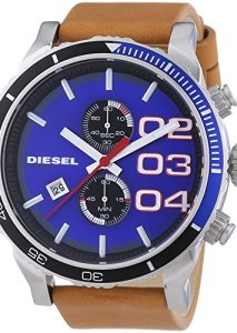 Schicker XL-Chronograph für Herren in der Trendfarbe Blau mit braunem Lederband