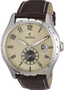 Festina Herren-Armbanduhr F16486/2 mit beigem Zifferblatt und braunem Lederarmband