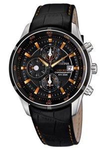 Sportliche und elegante Herrenarmbanduhr von Festina mit Schwarz und Orange