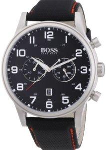 Hugo Boss Herren-Chronograph 1512919 mit schwarzem Zifferblatt, weißen Indizes und schwarzem Textil-Armband mit roter Steppnaht