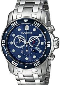 Invicta Herren-Chronograph 0070 Pro Diver mit Edelstahlgehäuse, blauem Zifferblatt und Edelstahlarmband