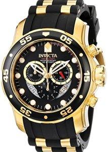 Coole Männer-Armbanduhr Invicta 6981 Pro Diver mit schwarz-goldenem Gehäuse und Kautschukarmband
