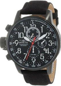 Invicta 1517 Force Lefty Linkshänder-Armbanduhr mit Chronograph, schwarzem Zifferblatt und Lederarmband für Herren