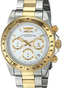Invicta Männer-Chronograph 9212 Speedway mit Silber-Gold-Look und weißem Zifferblatt