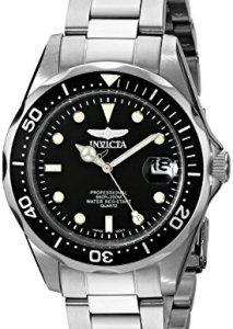 Invicta Taucheruhr 8932 Pro Diver mit schwarzem Zifferblatt und Edelstahlgehäuse und -armband