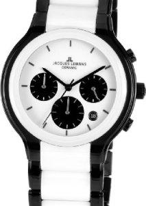 Schwarz-Weiße Kerarmikuhr für Männer mit Chronograph und Keramikgehäuse und -Armband