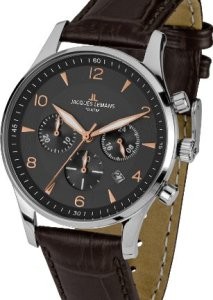 Eleganter Herren-Chronograph Jacques Lemans London 1-1654F mit braunem Lederarmband
