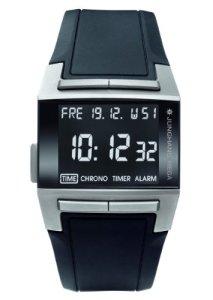 Junghans Mega 1000 Titan Avantgarde 026/2801.00 mit Titangehäuse, schwarzem LCD-Display und breitem PU-Armband