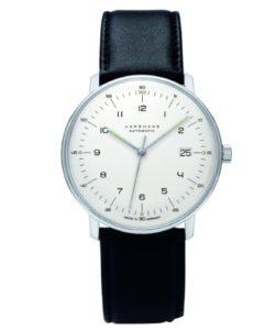 Junghans Herrenuhr max bill Automatic 027/4700.00 mit weißem Zifferblatt (versilbert) und schwarzem Lederarmband
