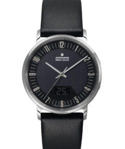 Herren-Funk-Armbanduhr Junghans Milano Mega Solar 056/4221.00 mit Glas-Zifferblatt und schwarzem Lederband