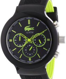 Schwarz-grüne Herrenuhr Lacoste 2010650 La Borneo mit analoger Anzeige und Chronograph