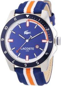 Blau-Orange Herrenuhr Lacoste Durban 2010700 mit Nylonarmband und 44 mm Edelstahlgehäuse