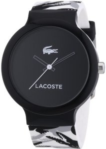 Lacoste Unisex-Silikonuhr 2020059 mit schwarzem Zifferblatt, analoger Anzeige und Silikonarmband